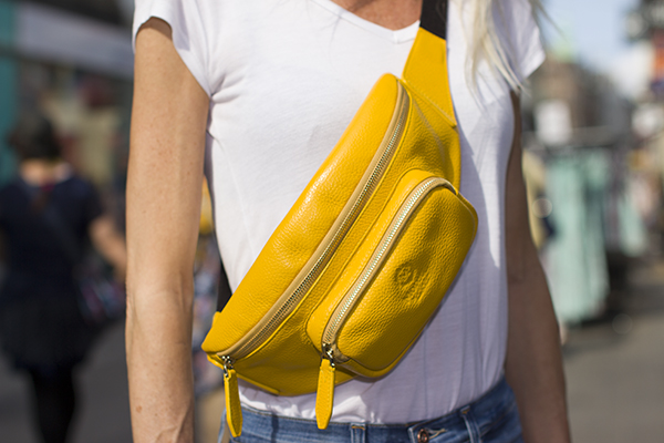 Avola handbag in luxury leather yellow by Moretti Milano Italy modern design