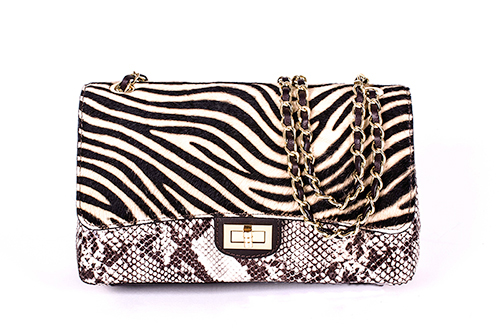 Adreano by Moretti Milano 14323 leather luxery zebra snake bag F