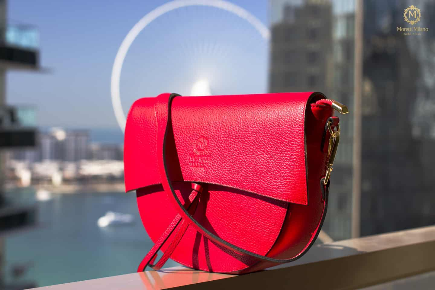Adria handbag in luxury leather by Moretti Milano Italy 14459 red