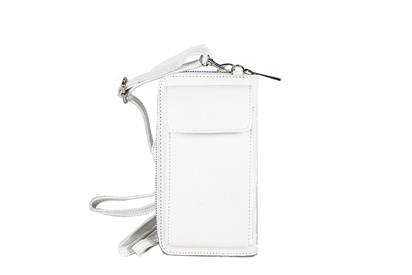 Atessa Phone holder and wallet by Moretti Milano White color genuine Leather