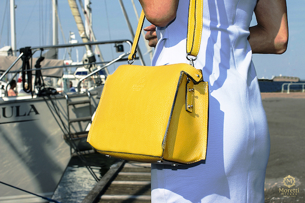 Lioni handbag in luxury leather by Moretti Milano Italy yellow 600x400