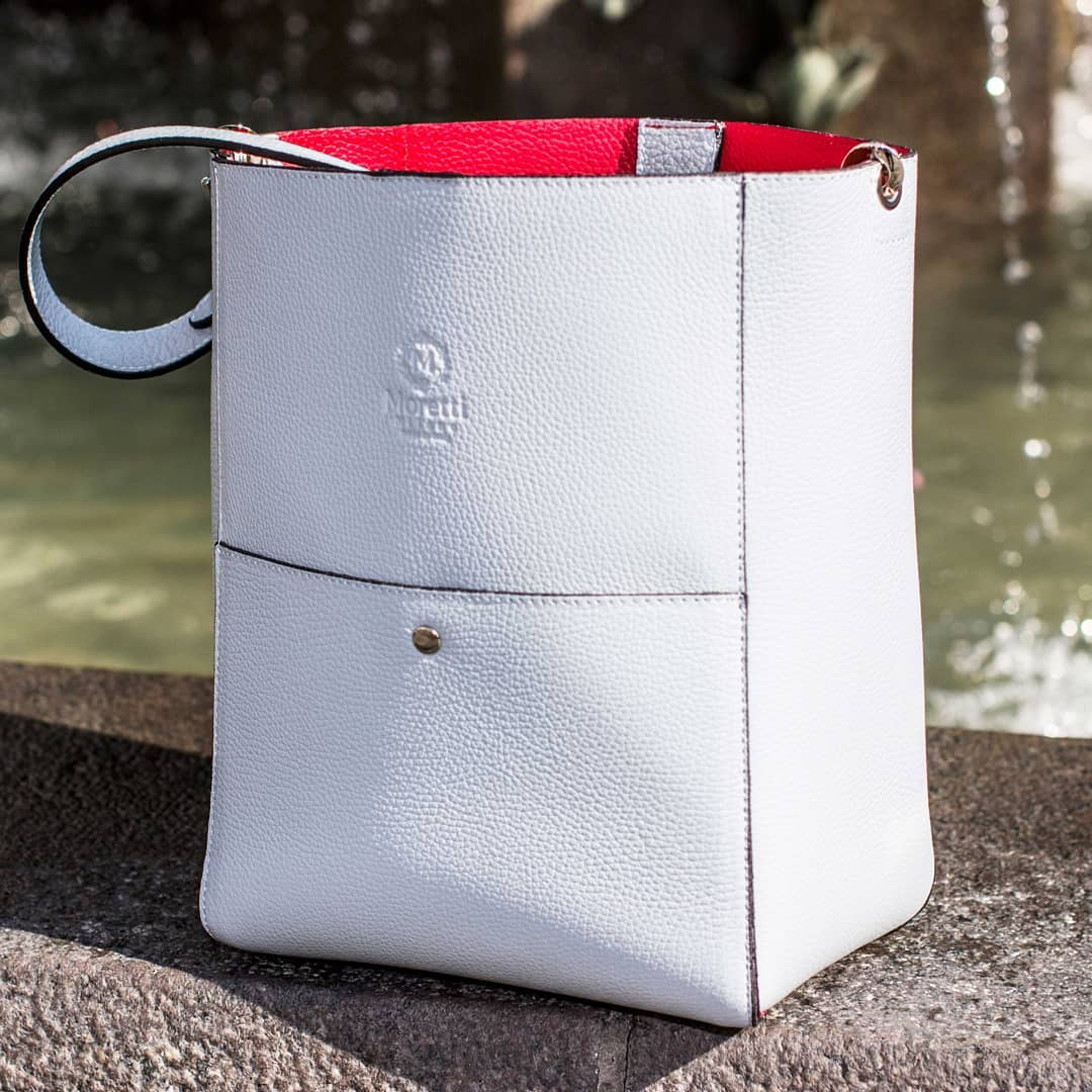 Magione handbag in luxury leather white by Moretti Milano Italy