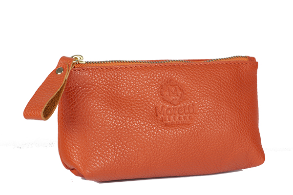 Make up wallet small by Moretti Milano 10001 orange color made in italy genuine leather