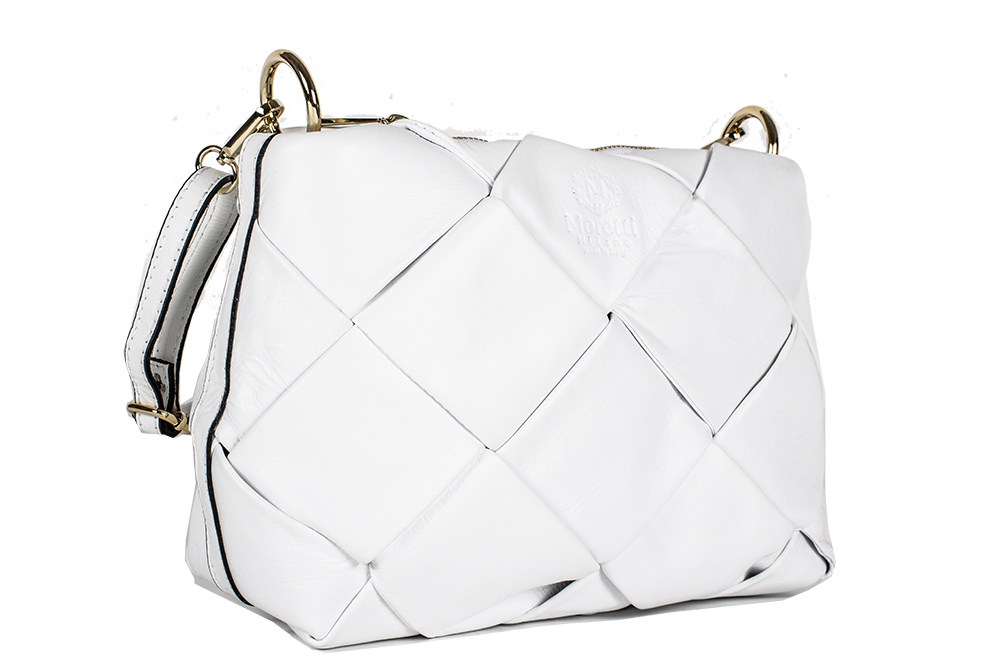 Nardo by Moretti Milano white color leather bag Made in Italy 14495
